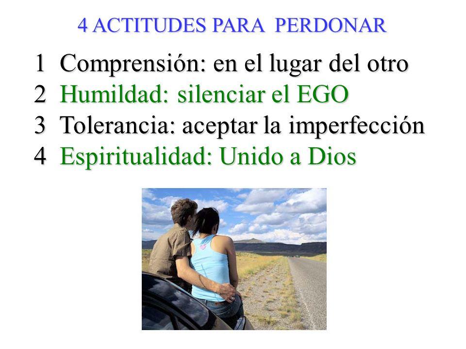 1 Comprensión: en el lugar del otro 2 Humildad: silenciar el EGO 3 Tolerancia: aceptar la imperfección 4 Espiritualidad: Unido a Dios 4 ACTITUDES PARA