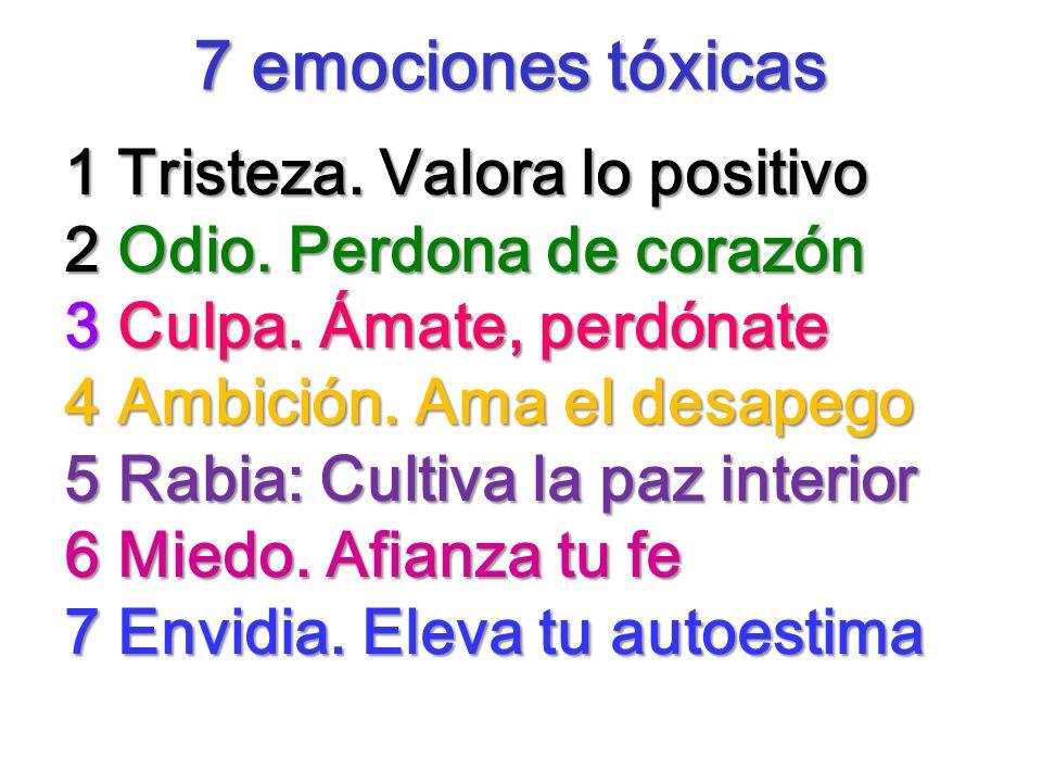 7 emociones tóxicas 7 emociones tóxicas 1 Tristeza. Valora lo positivo 2 Odio. Perdona de corazón 3 Culpa. Ámate, perdónate 4 Ambición. Ama el desapeg
