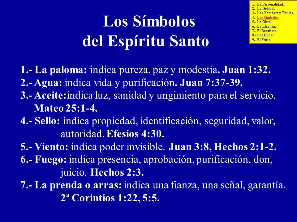 Los Símbolos del Espíritu Santo 1.- La paloma: indica pureza, paz y modestia. Juan 1:32. 2.- Agua: indica vida y purificación. Juan 7:37-39. 3.- Aceit