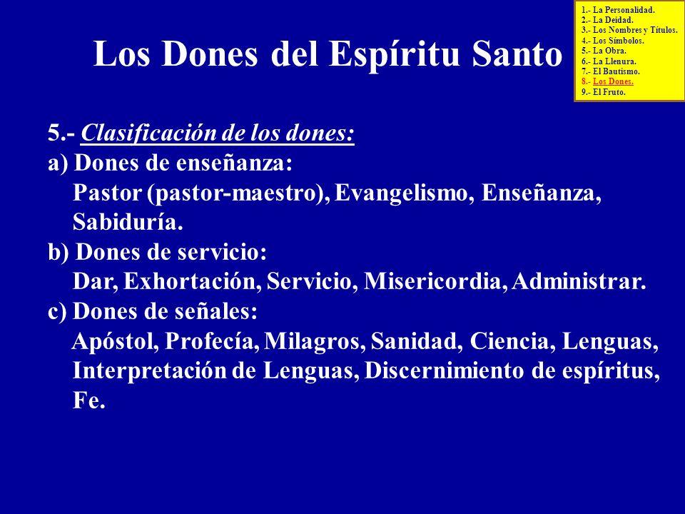 5.- Clasificación de los dones: a) Dones de enseñanza: Pastor (pastor-maestro), Evangelismo, Enseñanza, Sabiduría. b) Dones de servicio: Dar, Exhortac