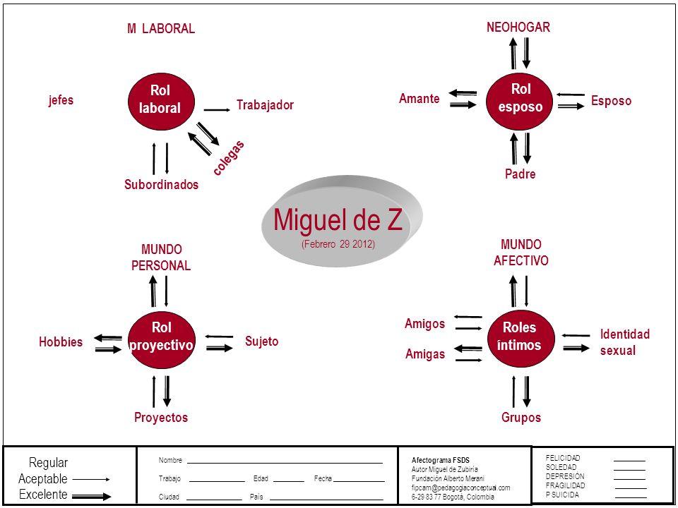 FELICIDAD_________ SOLEDAD _________ DEPRESIÓN _________ FRAGILIDAD _________ P SUICIDA _________ Afectograma FSDS Autor Miguel de Zubiría Fundación A