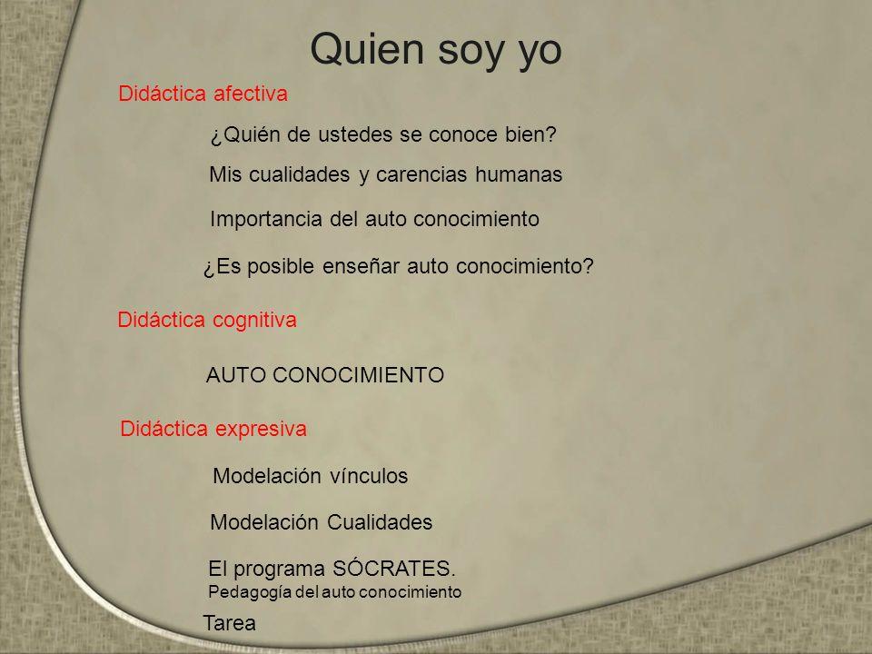 Quien soy yo Didáctica cognitiva Didáctica expresiva Didáctica afectiva Mis cualidades y carencias humanas Modelación vínculos AUTO CONOCIMIENTO Impor