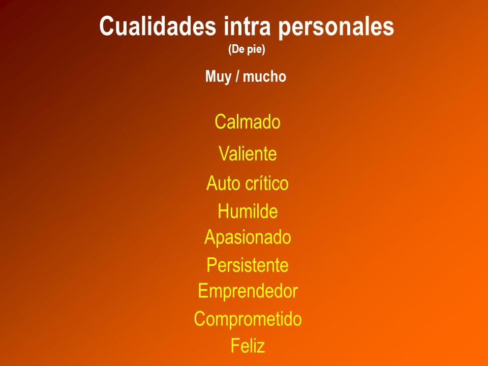 Apasionado Cualidades intra personales (De pie) Persistente Emprendedor Comprometido Valiente Calmado Feliz Auto crítico Humilde Muy / mucho