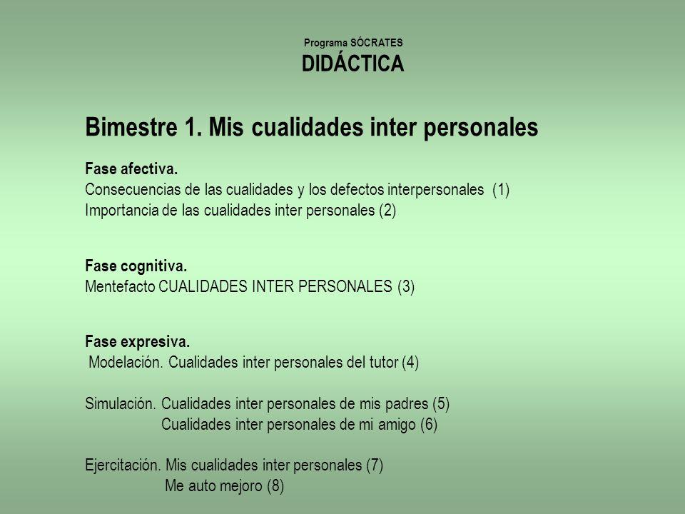 Programa SÓCRATES DIDÁCTICA Bimestre 1. Mis cualidades inter personales Fase afectiva. Consecuencias de las cualidades y los defectos interpersonales