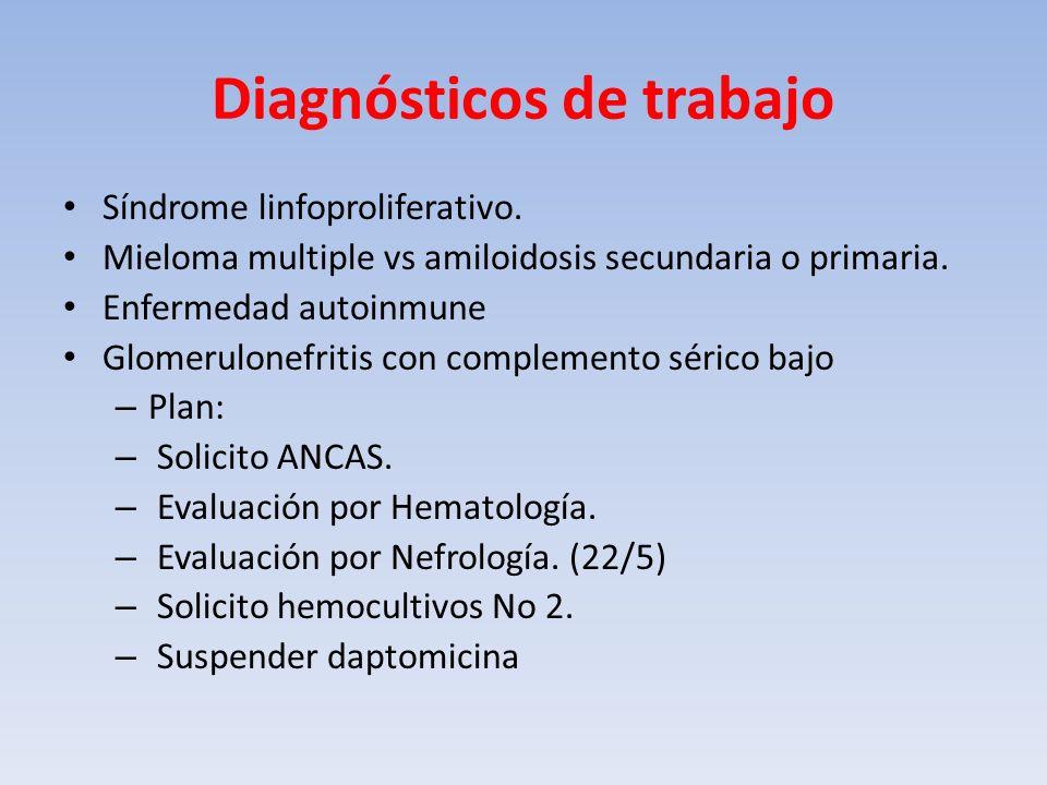 Diagnósticos de trabajo Síndrome linfoproliferativo. Mieloma multiple vs amiloidosis secundaria o primaria. Enfermedad autoinmune Glomerulonefritis co