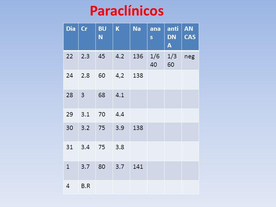 Paraclínicos DiaCrBU N KNaana s anti DN A AN CAS 222.3454.21361/6 40 1/3 60 neg 242.8604,2138 283684.1 293.1704.4 303.2753.9138 313.4753.8 13.7803.714