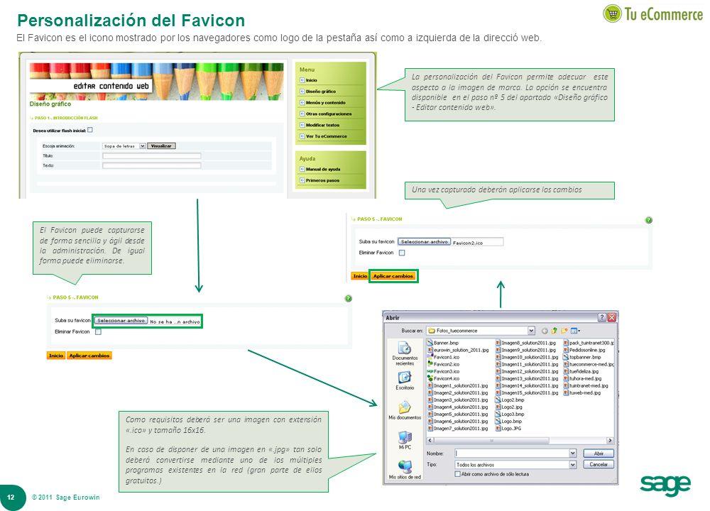 12 © 2008 Sage Personalización del Favicon El Favicon es el icono mostrado por los navegadores como logo de la pestaña así como a izquierda de la dire