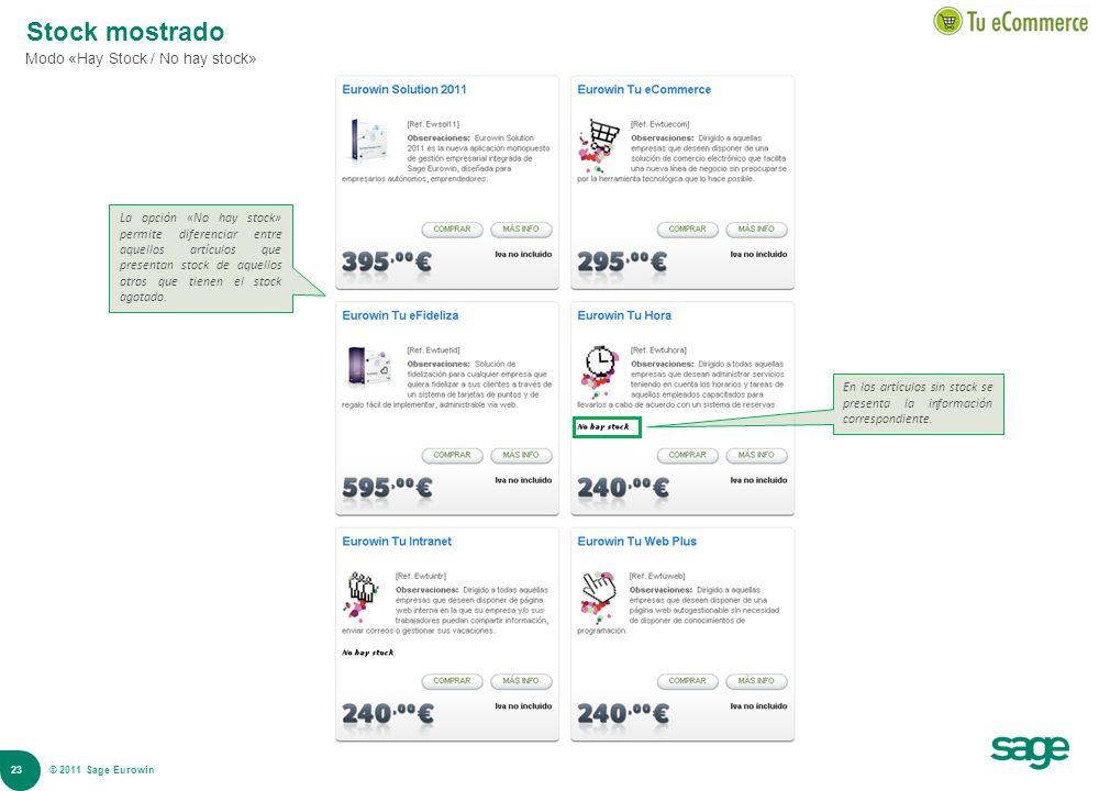 23 © 2008 Sage Stock mostrado Modo «Hay Stock / No hay stock» La opción «No hay stock» permite diferenciar entre aquellos artículos que presentan stoc