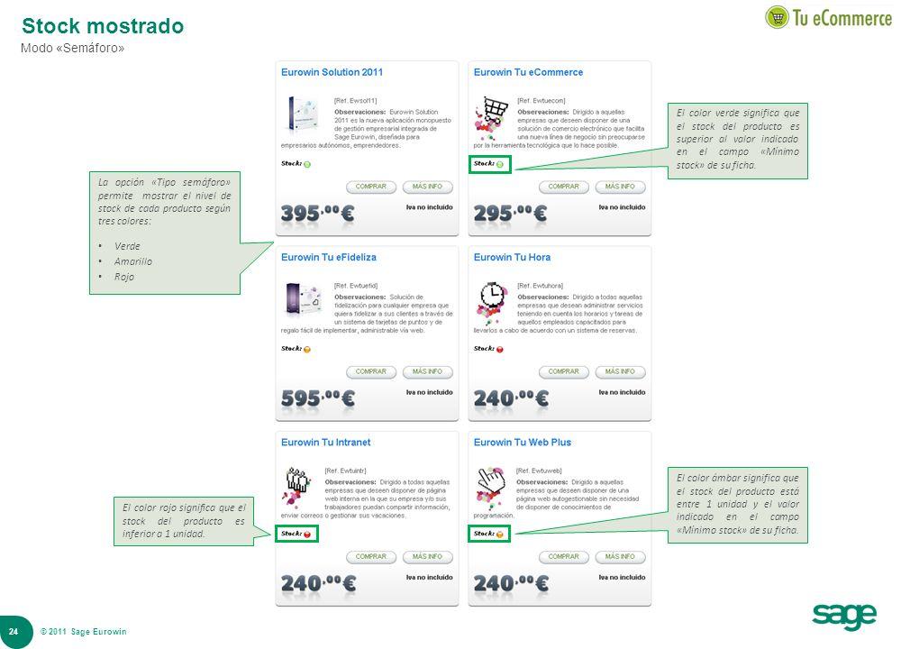 24 © 2008 Sage Stock mostrado Modo «Semáforo» La opción «Tipo semáforo» permite mostrar el nivel de stock de cada producto según tres colores: Verde A
