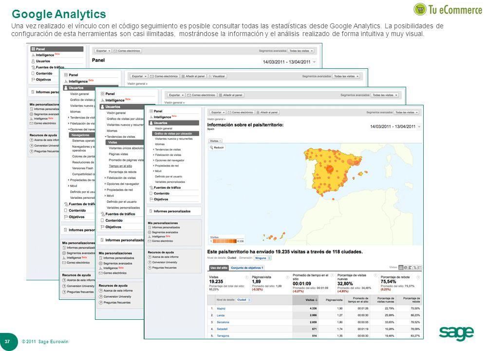 37 © 2008 Sage Google Analytics Una vez realizado el vínculo con el código seguimiento es posible consultar todas las estadísticas desde Google Analyt