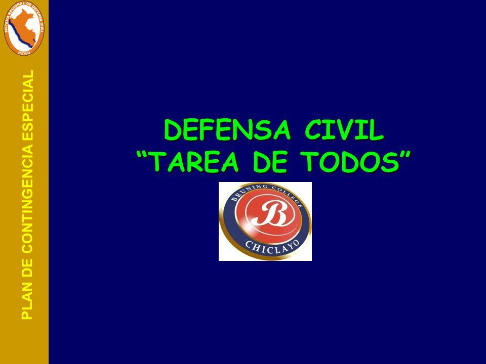 PLAN DE CONTINGENCIA ESPECIAL DEFENSA CIVIL TAREA DE TODOS DEFENSA CIVIL TAREA DE TODOS