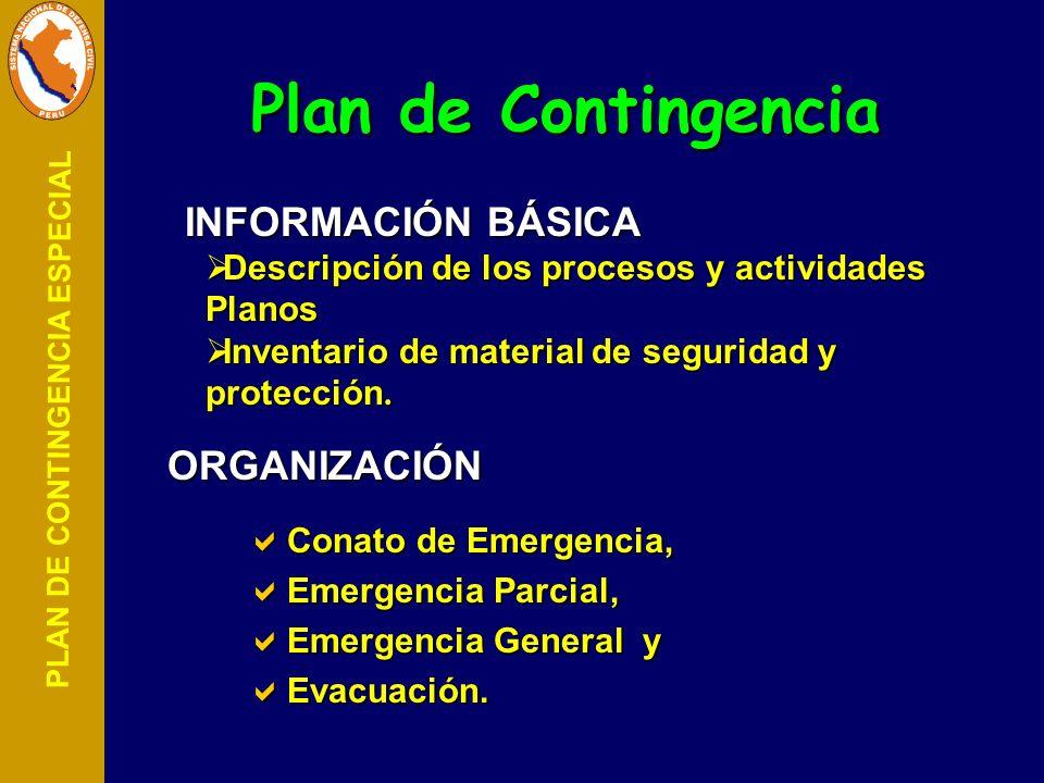 PLAN DE CONTINGENCIA ESPECIAL Conato de Emergencia, Conato de Emergencia, Emergencia Parcial, Emergencia Parcial, Emergencia General y Emergencia Gene