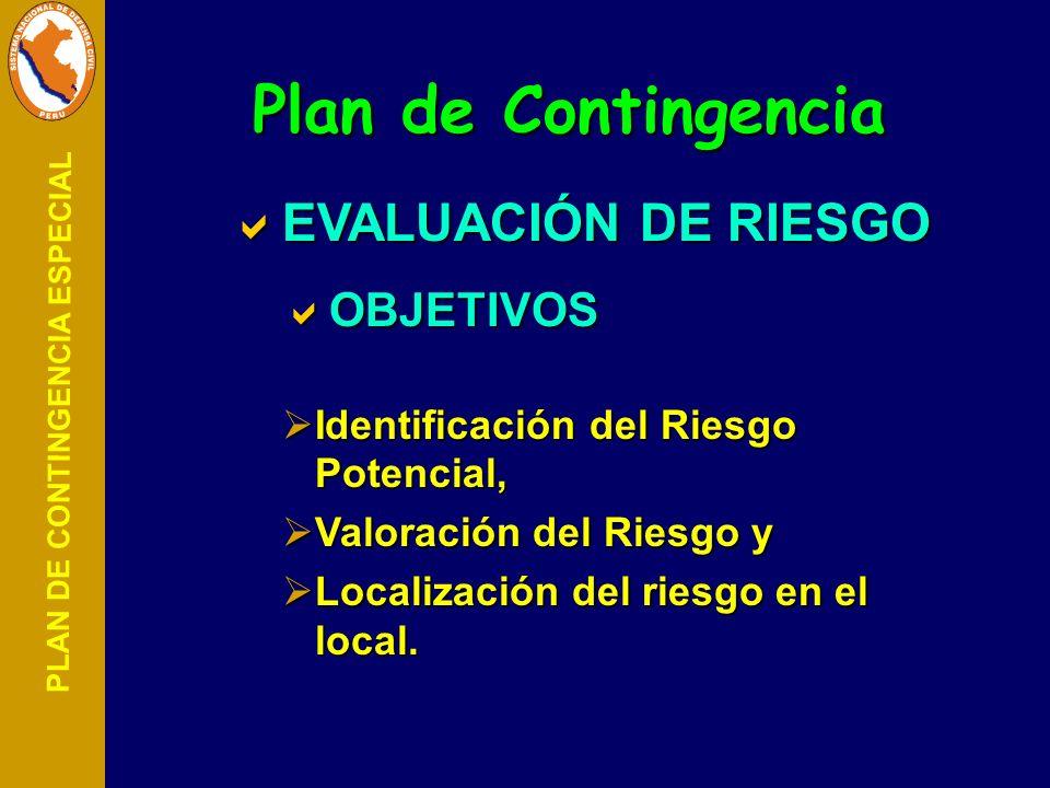 PLAN DE CONTINGENCIA ESPECIAL EVALUACIÓN DE RIESGO EVALUACIÓN DE RIESGO OBJETIVOS OBJETIVOS Identificación del Riesgo Potencial, Identificación del Ri