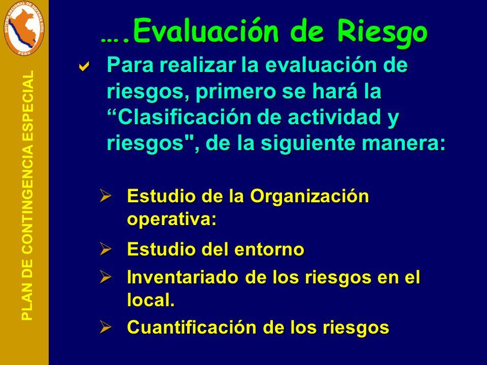 PLAN DE CONTINGENCIA ESPECIAL Para realizar la evaluación de riesgos, primero se hará la Clasificación de actividad y riesgos