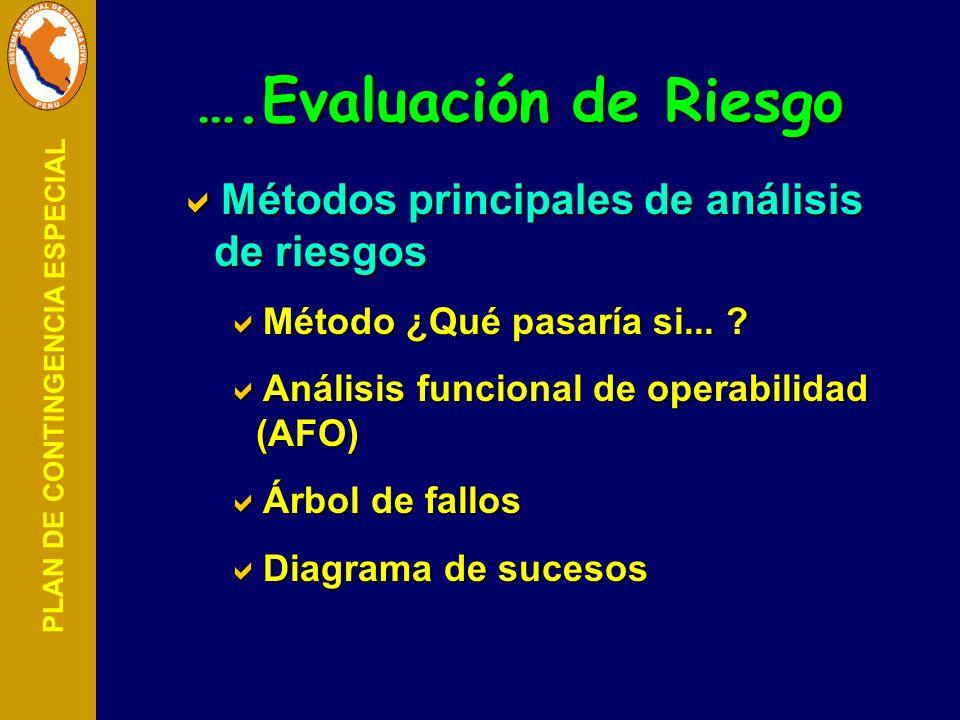 PLAN DE CONTINGENCIA ESPECIAL Métodos principales de análisis de riesgos Métodos principales de análisis de riesgos Método ¿Qué pasaría si... ? Método