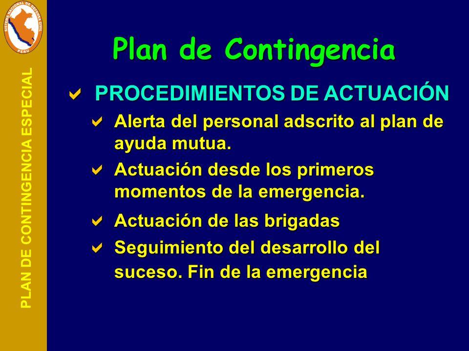 PLAN DE CONTINGENCIA ESPECIAL PROCEDIMIENTOS DE ACTUACIÓN PROCEDIMIENTOS DE ACTUACIÓN Alerta del personal adscrito al plan de ayuda mutua. Alerta del