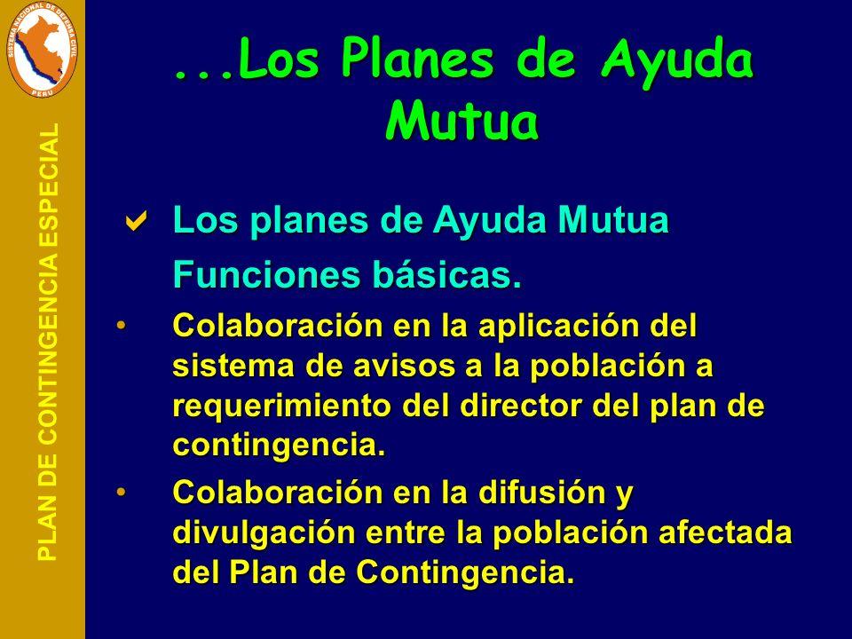 PLAN DE CONTINGENCIA ESPECIAL Los planes de Ayuda Mutua Los planes de Ayuda Mutua Funciones básicas. Colaboración en la aplicación del sistema de avis