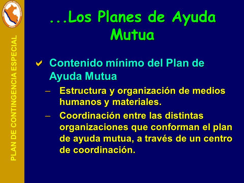 PLAN DE CONTINGENCIA ESPECIAL Contenido mínimo del Plan de Ayuda Mutua Contenido mínimo del Plan de Ayuda Mutua –Estructura y organización de medios h