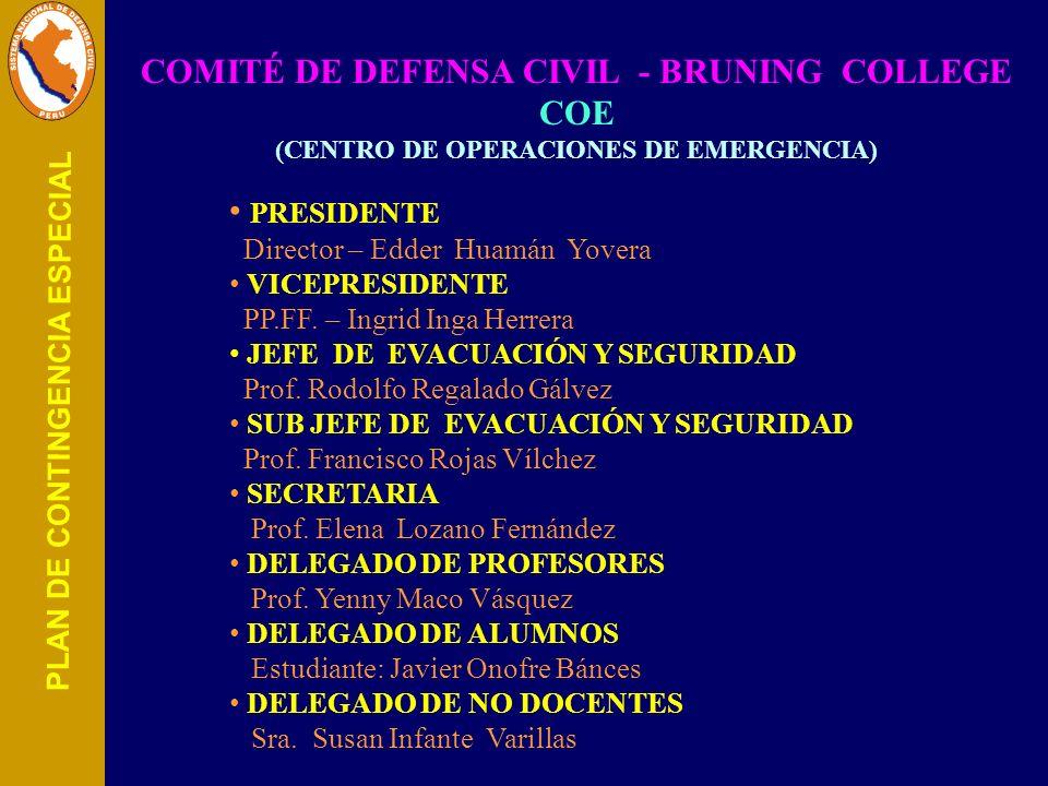 COMITÉ DE DEFENSA CIVIL - BRUNING COLLEGE COE (CENTRO DE OPERACIONES DE EMERGENCIA) PRESIDENTE Director – Edder Huamán Yovera VICEPRESIDENTE PP.FF. –