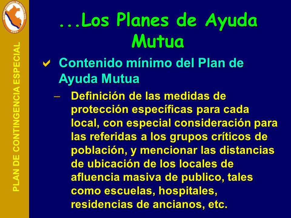 PLAN DE CONTINGENCIA ESPECIAL Contenido mínimo del Plan de Ayuda Mutua Contenido mínimo del Plan de Ayuda Mutua –Definición de las medidas de protecci