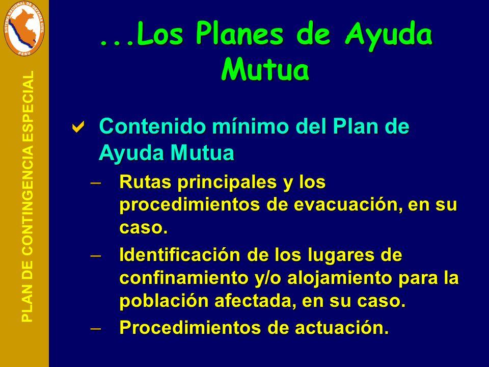 PLAN DE CONTINGENCIA ESPECIAL Contenido mínimo del Plan de Ayuda Mutua Contenido mínimo del Plan de Ayuda Mutua –Rutas principales y los procedimiento