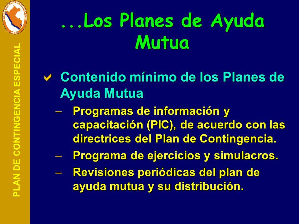PLAN DE CONTINGENCIA ESPECIAL Contenido mínimo de los Planes de Ayuda Mutua Contenido mínimo de los Planes de Ayuda Mutua –Programas de información y