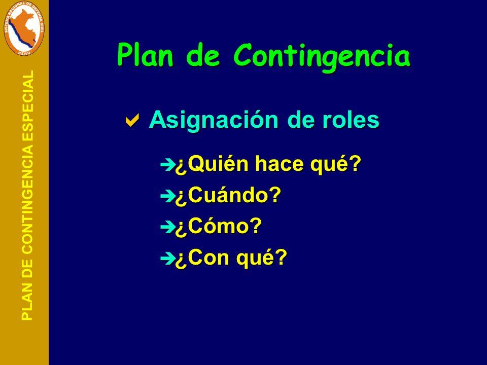 PLAN DE CONTINGENCIA ESPECIAL Plan de Contingencia Asignación de roles Asignación de roles ¿Quién hace qué? ¿Quién hace qué? ¿Cuándo? ¿Cuándo? ¿Cómo?