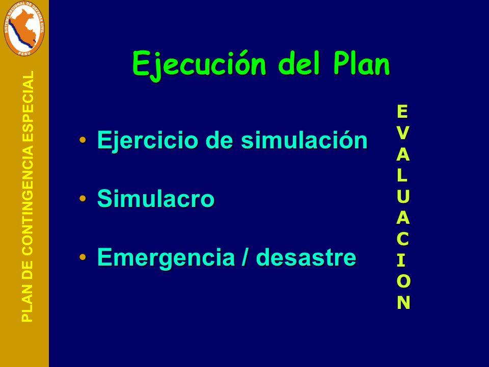 PLAN DE CONTINGENCIA ESPECIAL Ejecución del Plan Ejercicio de simulaciónEjercicio de simulación SimulacroSimulacro Emergencia / desastreEmergencia / d