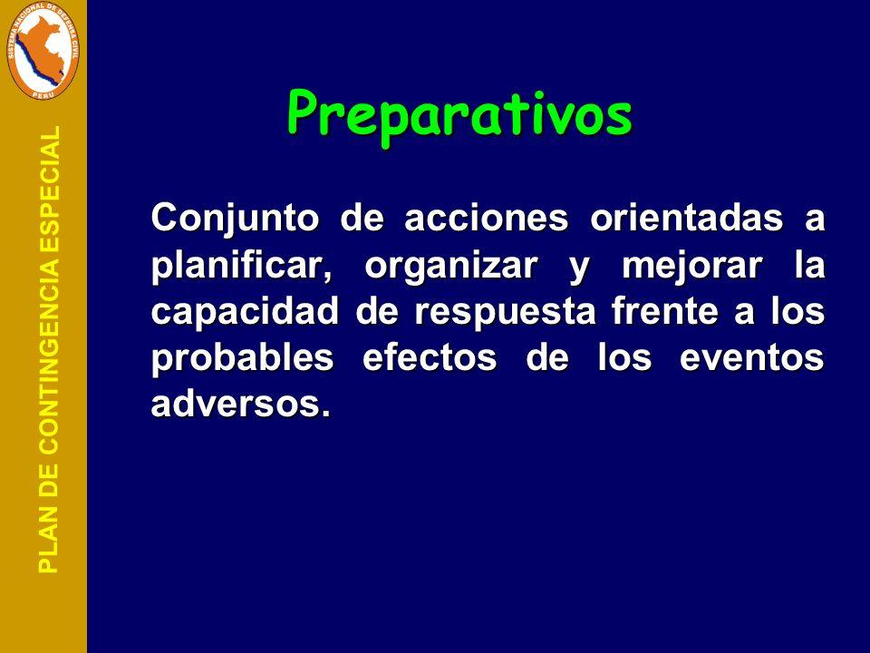PLAN DE CONTINGENCIA ESPECIAL Preparativos Conjunto de acciones orientadas a planificar, organizar y mejorar la capacidad de respuesta frente a los pr
