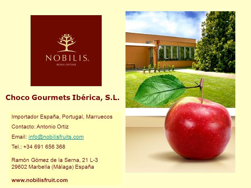 Choco Gourmets Ibérica, S.L. Importador España, Portugal, Marruecos Contacto: Antonio Ortiz Email: info@nobilisfruits.cominfo@nobilisfruits.com Tel.: