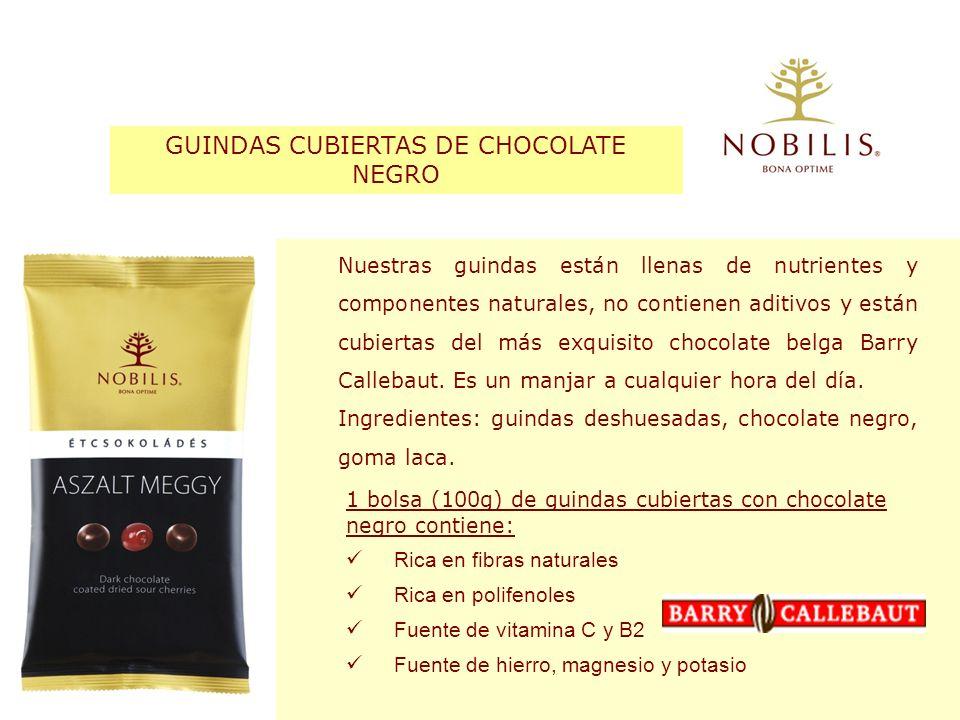 GUINDAS CUBIERTAS DE CHOCOLATE NEGRO Nuestras guindas están llenas de nutrientes y componentes naturales, no contienen aditivos y están cubiertas del