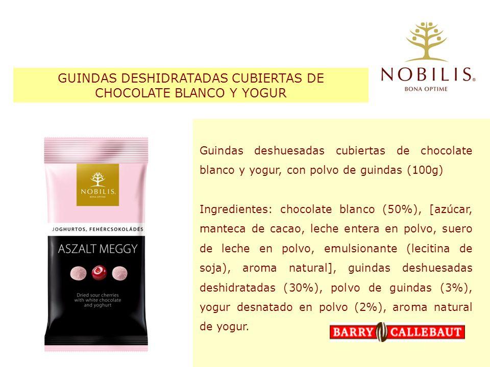 GUINDAS DESHIDRATADAS CUBIERTAS DE CHOCOLATE BLANCO Y YOGUR Guindas deshuesadas cubiertas de chocolate blanco y yogur, con polvo de guindas (100g) Ing