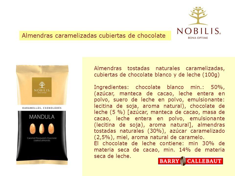 Almendras tostadas naturales caramelizadas, cubiertas de chocolate blanco y de leche (100g) Ingredientes: chocolate blanco min.: 50%, (azúcar, manteca