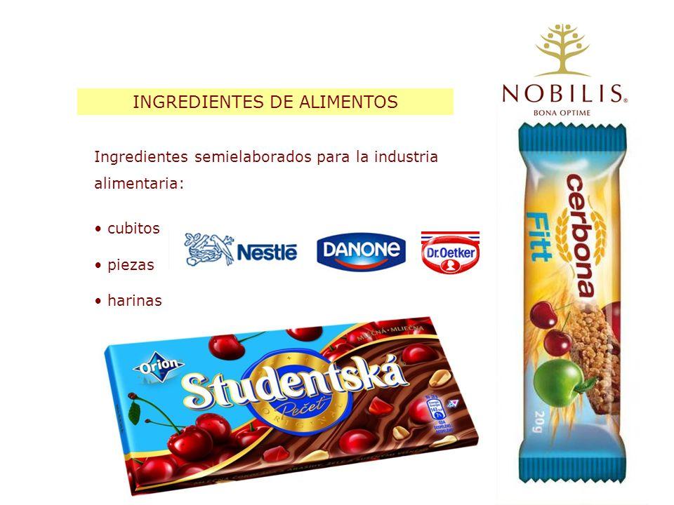 INGREDIENTES DE ALIMENTOS Ingredientes semielaborados para la industria alimentaria: cubitos piezas harinas