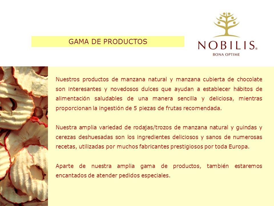 El snack de manzana crujiente Nobilis es un snack saludable para consumir a cualquier hora del día – con 3 manzanas enteras en una bolsa de 40 gramos – que contribuye a la ingestión de 5 piezas de fruta al día.