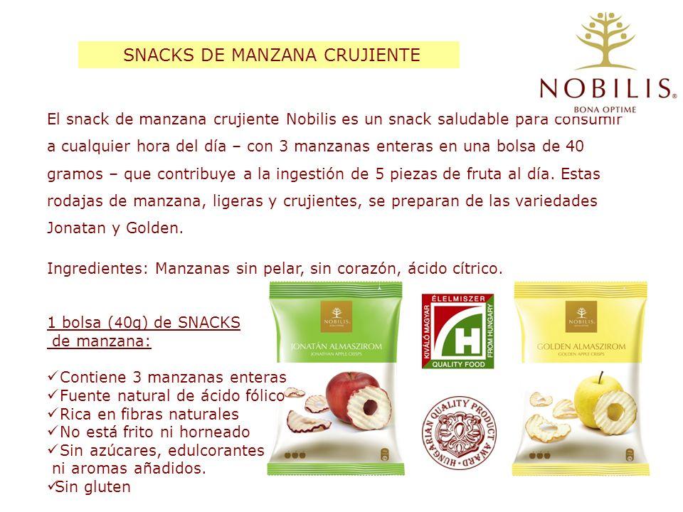 El snack de manzana crujiente Nobilis es un snack saludable para consumir a cualquier hora del día – con 3 manzanas enteras en una bolsa de 40 gramos