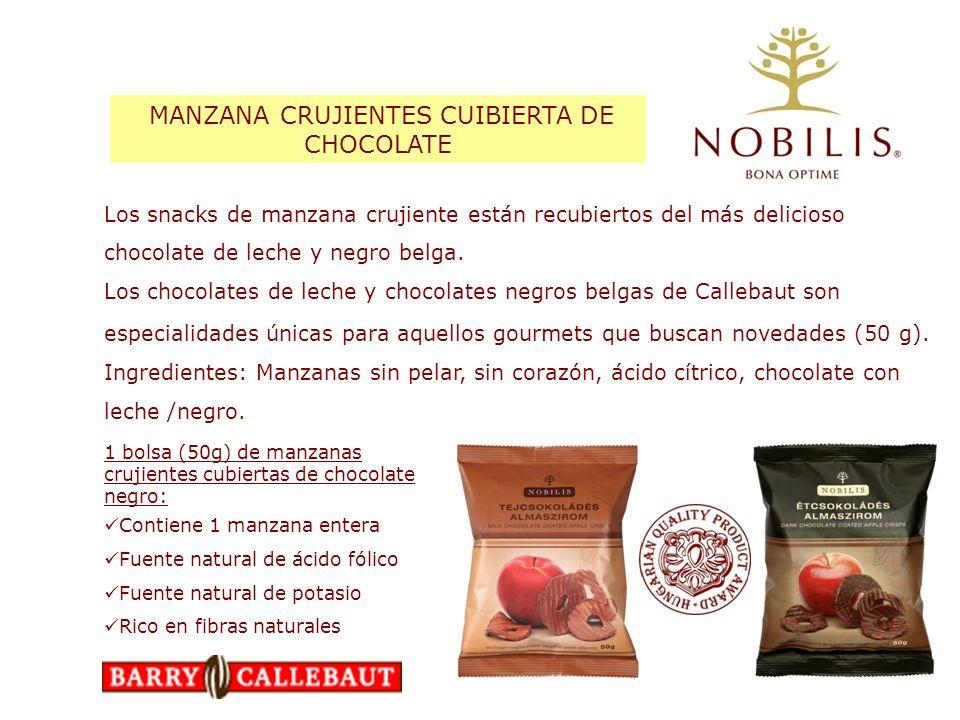 1 bolsa (50g) de manzanas crujientes cubiertas de chocolate negro: Contiene 1 manzana entera Fuente natural de ácido fólico Fuente natural de potasio