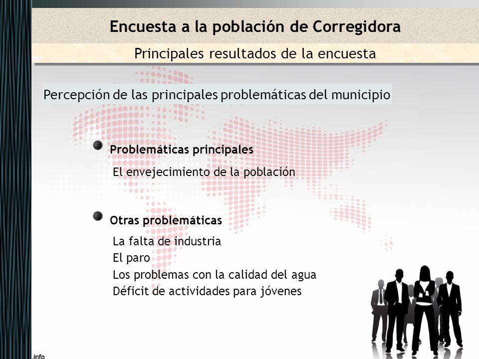 Percepción de las principales problemáticas del municipio Problemáticas principales El envejecimiento de la población Otras problemáticas La falta de
