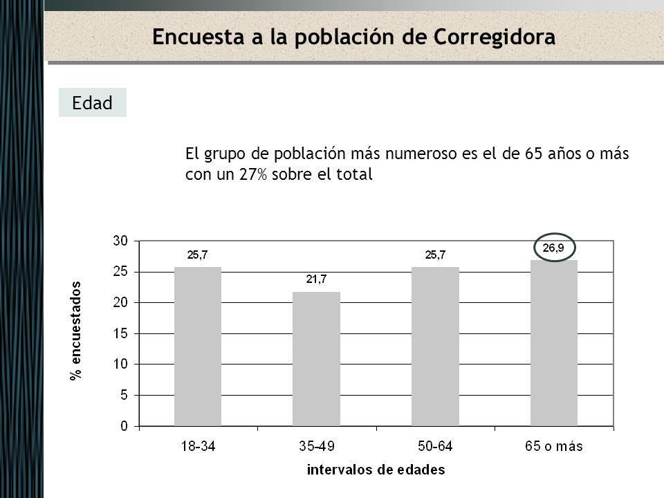 Encuesta a la población de Corregidora Nivel de estudios 58% estudios primarios 5% estudios de grado superior 24% estudios de grado medio 12% no tiene estudios