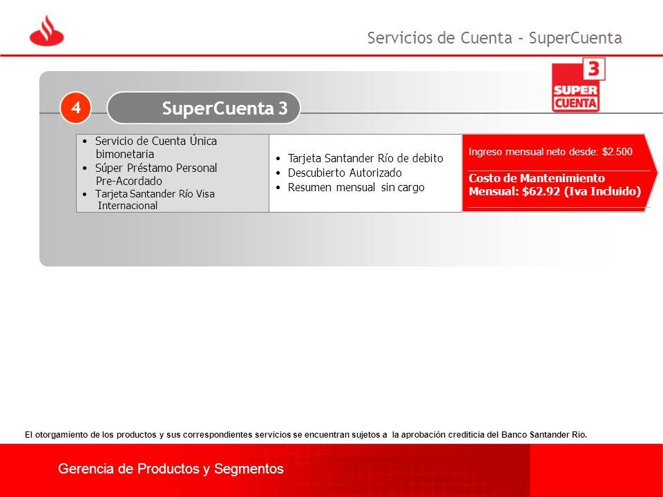 Gerencia de Productos y Segmentos Tarjeta Santander Río de debito Descubierto Autorizado Resumen mensual sin cargo Ingreso mensual neto desde: $2.500