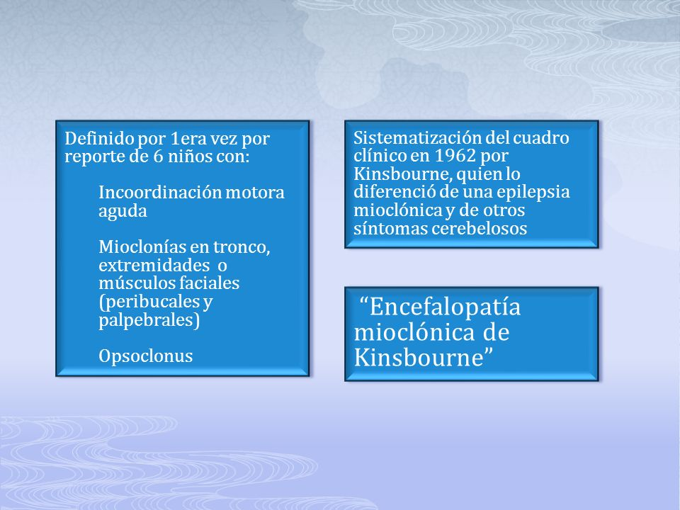 Definido por 1era vez por reporte de 6 niños con: Incoordinación motora aguda Mioclonías en tronco, extremidades o músculos faciales (peribucales y pa