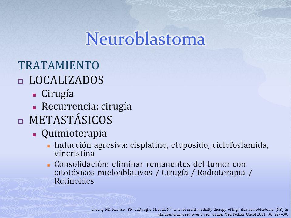 TRATAMIENTO LOCALIZADOS Cirugía Recurrencia: cirugía METASTÁSICOS Quimioterapia Inducción agresiva: cisplatino, etoposido, ciclofosfamida, vincristina
