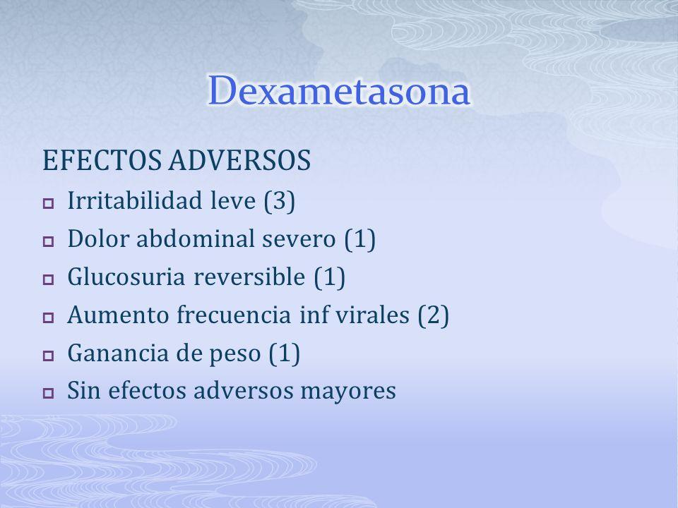 EFECTOS ADVERSOS Irritabilidad leve (3) Dolor abdominal severo (1) Glucosuria reversible (1) Aumento frecuencia inf virales (2) Ganancia de peso (1) S