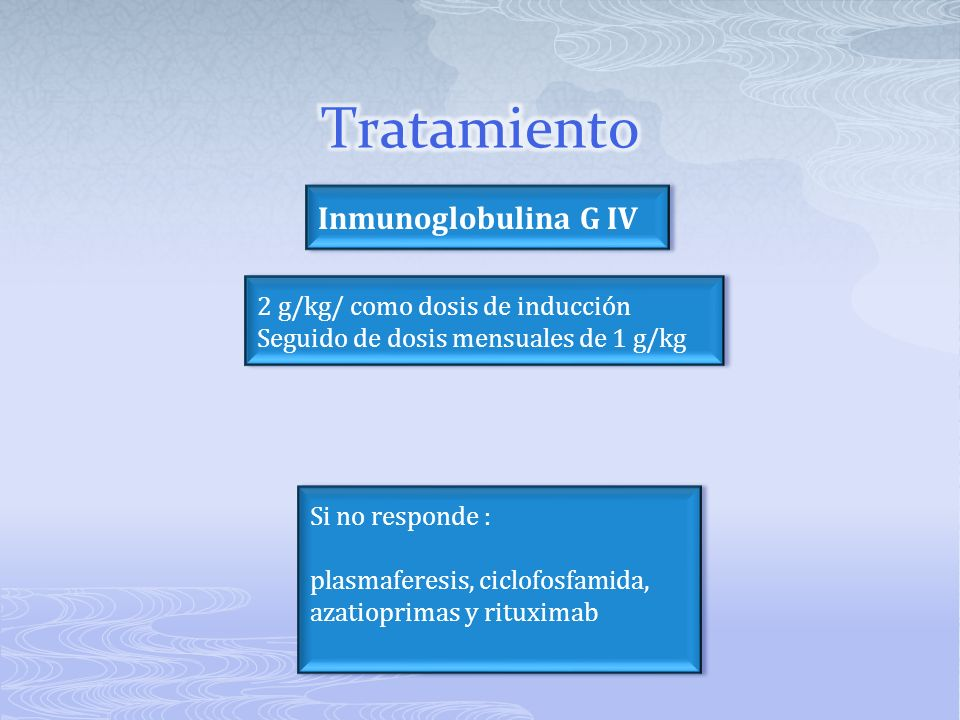 Si no responde : plasmaferesis, ciclofosfamida, azatioprimas y rituximab Si no responde : plasmaferesis, ciclofosfamida, azatioprimas y rituximab 2 g/