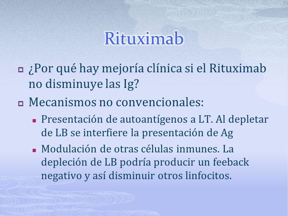 ¿Por qué hay mejoría clínica si el Rituximab no disminuye las Ig? Mecanismos no convencionales: Presentación de autoantígenos a LT. Al depletar de LB