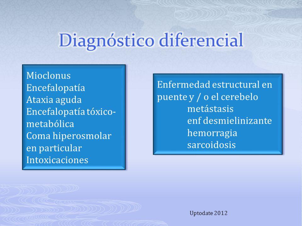Uptodate 2012 Mioclonus Encefalopatía Ataxia aguda Encefalopatía tóxico- metabólica Coma hiperosmolar en particular Intoxicaciones Mioclonus Encefalop