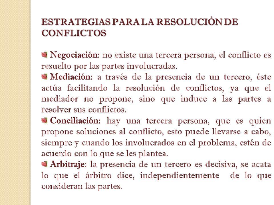 ESTRATEGIAS PARA LA RESOLUCIÓN DE CONFLICTOS Negociación: no existe una tercera persona, el conflicto es resuelto por las partes involucradas. Mediaci