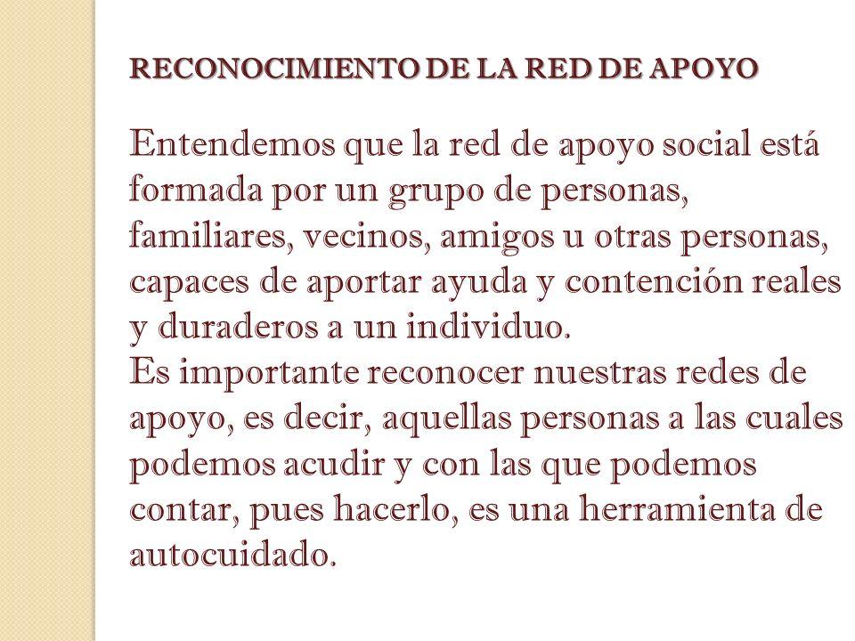 RECONOCIMIENTO DE LA RED DE APOYO Entendemos que la red de apoyo social está formada por un grupo de personas, familiares, vecinos, amigos u otras per