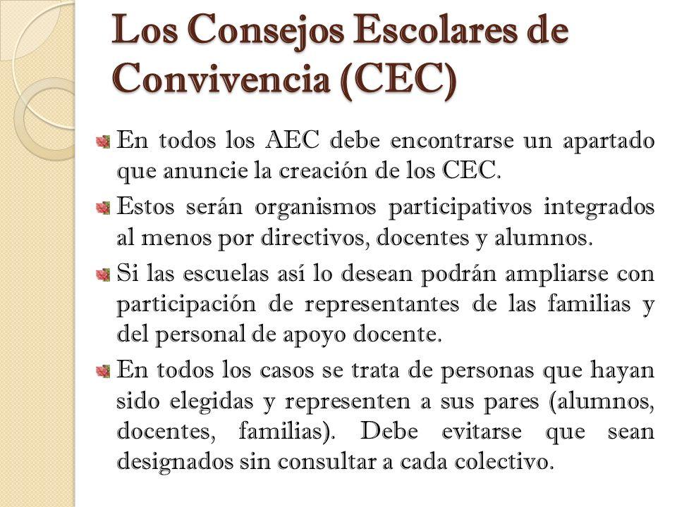 Los Consejos Escolares de Convivencia (CEC) En todos los AEC debe encontrarse un apartado que anuncie la creación de los CEC. Estos serán organismos p