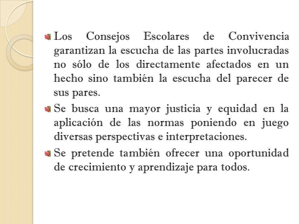 Los Consejos Escolares de Convivencia garantizan la escucha de las partes involucradas no sólo de los directamente afectados en un hecho sino también